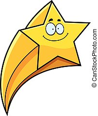 Smiling Cartoon Shooting Star - A cartoon illustration of a...