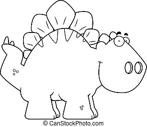 Smiling Cartoon Stegosaurus