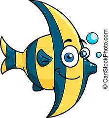 Smiling cartoon striped tropical fish