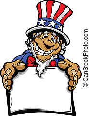 Smiling Cartoon Uncle Sam Character - Uncle Sam on July 4th...