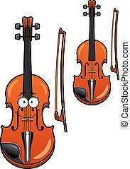 Smiling cartoon violin character with bow