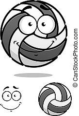 Smiling cartoon volleyball ball