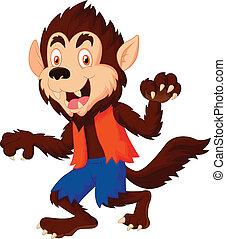 Smiling cartoon werewolf