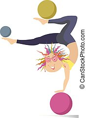 Smiling cartoon young woman do exercises with the ball vector illustration