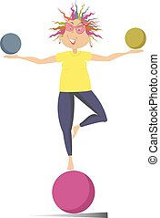 Smiling cartoon young woman do exercises with the balls vector illustration