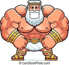 Smiling Cartoon Zeus - A cartoon illustration of Zeus...