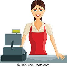 Smiling Cashier Girl
