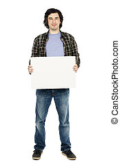 Smiling Casual 30's Guy Holding Sign