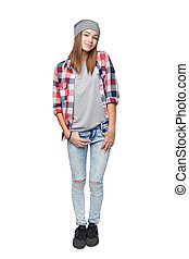 Smiling casual teen girl in full length - Smiling casual ...