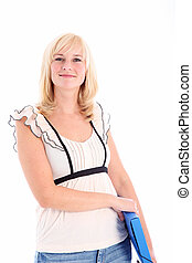 Smiling casual woman with blue folder