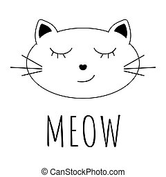 Smiling cat cartoon icon with MEOW text isolated on white background vector illustration