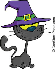 Smiling Cat With Witch Hat