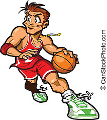 Smiling Caucasian Basketball Player Dribbling the Basketball About to Take a Shot