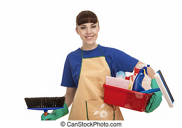 Smiling Caucasian Female Servant With Cleaning Accessories....