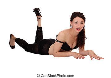 Smiling Caucasian Woman Bra Stockings Reclining Skinny