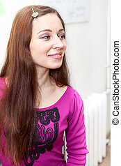 Smiling Caucasian woman portrait, profile