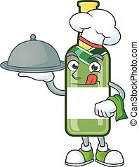 smiling champagne green bottle as a Chef with food cartoon style design
