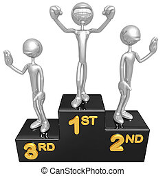 Smiling Champion On Podium - 3D Concept And Presentation...