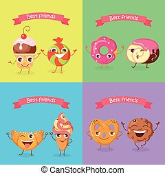 Smiling Characters. Set of Funny Sweets Flat Design. - Best...