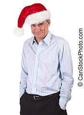 Smiling Cheeky Man in Santa Hat