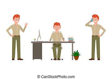 Smiling, cheerful, red hair office man in green pants vector illustration. Waving hello, sitting at desk, writing, talking on phone male cartoon character set