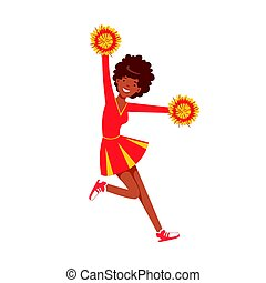 Smiling cheerleader girl teenager dancing with red and yellow pompoms. Colorful cartoon character vector Illustration