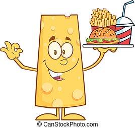 Smiling Cheese Holding A Hamburger