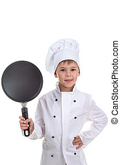 Smiling chef boy holding frying pan on white background