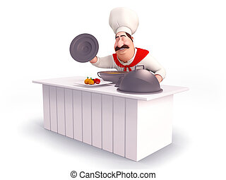 smiling Chef cooking vegetables