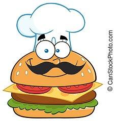 Smiling Chef Hamburger Character