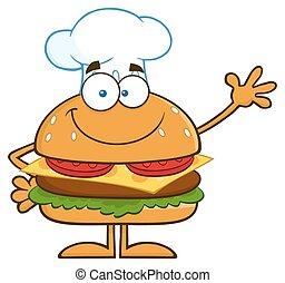 Smiling Chef Hamburger Waving