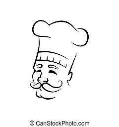 Smiling chef outline vector illustration