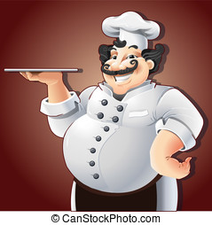 Smiling Chef with Plate