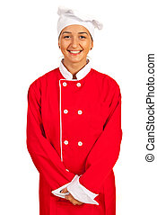 Smiling chef woman