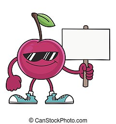 smiling cherry cartoon with sunglasses character