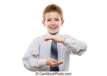 Smiling child boy hand holding invisible sphere or globe
