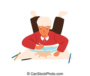 Smiling child drawing picture lying on floor vector flat illustration. Focused male kid painting picture on paper use colorful pencil isolated on white background. Boy enjoying creative hobby