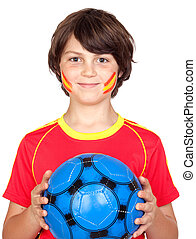 Smiling child fan of the Spanish team