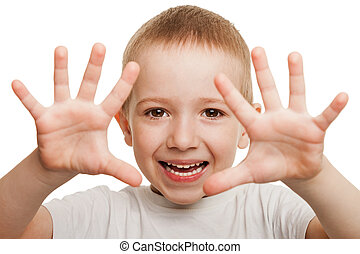 Little gesturing child boy happiness fun smiling