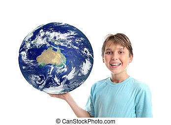 Smiling child holding our world planet showing Australia Oceania