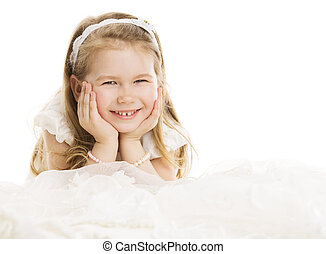Smiling Child Little Girl Portrait, Kid Four Years over White Background