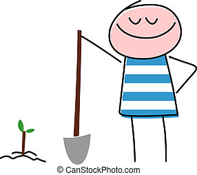 Smiling Child Planting Tree With Shovel - A vector...