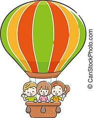 Smiling children in a balloon