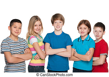 Smiling children - A group of five smiling children are...