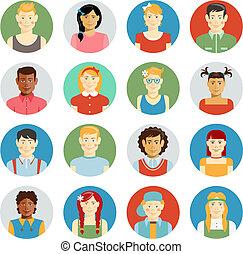 Smiling children vector avatar set - Colorful smiling...