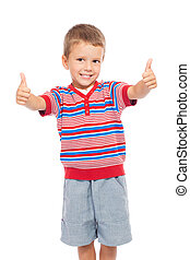 Smiling children with thumbs up sign