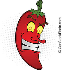 Smiling Chili Pepper Cartoon - A smiling red hot chili...