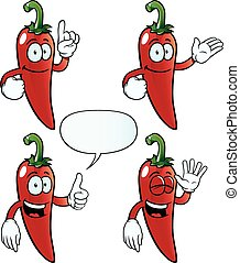 Smiling chili pepper set