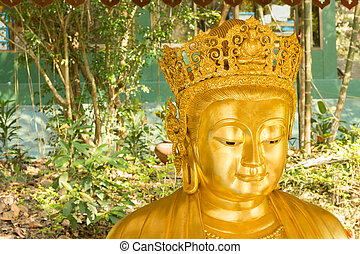 Smiling Chinese Golden Buddha Statue in background of nature