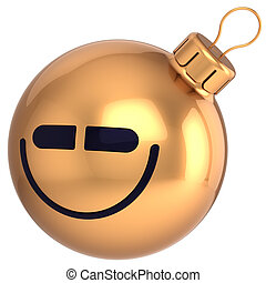 Smiling Christmas ball New Year ico - Smiling Christmas ball...